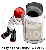 Red Doctor Scientist Man Pushing Large Medicine Bottle