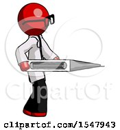 Red Doctor Scientist Man Walking With Large Thermometer