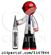 Red Doctor Scientist Man Standing With Large Thermometer