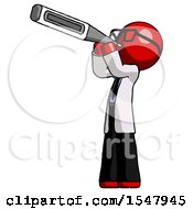 Red Doctor Scientist Man Thermometer In Mouth