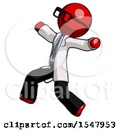 Red Doctor Scientist Man Running Away In Hysterical Panic Direction Left