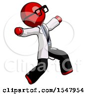 Red Doctor Scientist Man Running Away In Hysterical Panic Direction Right