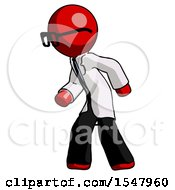 Red Doctor Scientist Man Suspense Action Pose Facing Left