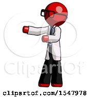 Red Doctor Scientist Man Presenting Something To His Right