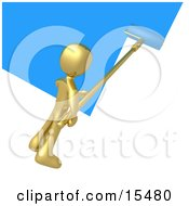 Gold Person Using A Roller To Apply Blue Paint To A White Wall