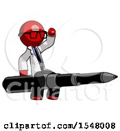 Red Doctor Scientist Man Riding A Pen Like A Giant Rocket