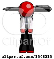 Red Doctor Scientist Man Head Impaled With Pen