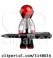 Red Doctor Scientist Man Weightlifting A Giant Pen