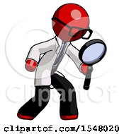 Red Doctor Scientist Man Inspecting With Large Magnifying Glass Right