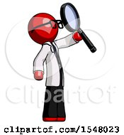 Red Doctor Scientist Man Inspecting With Large Magnifying Glass Facing Up