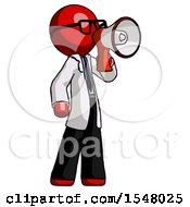 Red Doctor Scientist Man Shouting Into Megaphone Bullhorn Facing Right
