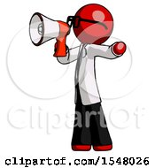 Red Doctor Scientist Man Shouting Into Megaphone Bullhorn Facing Left