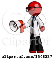 Red Doctor Scientist Man Holding Megaphone Bullhorn Facing Right
