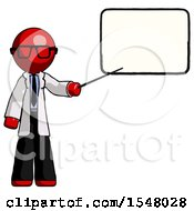 Red Doctor Scientist Man Giving Presentation In Front Of Dry Erase Board