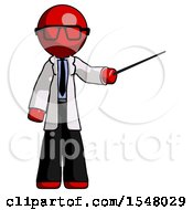 Red Doctor Scientist Man Teacher Or Conductor With Stick Or Baton Directing