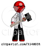 Red Doctor Scientist Man With Sledgehammer Standing Ready To Work Or Defend