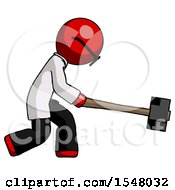 Red Doctor Scientist Man Hitting With Sledgehammer Or Smashing Something