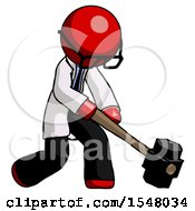Red Doctor Scientist Man Hitting With Sledgehammer Or Smashing Something At Angle