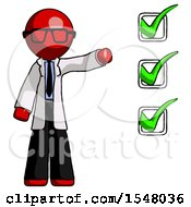 Red Doctor Scientist Man Standing By List Of Checkmarks