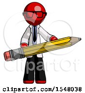 Red Doctor Scientist Man Writer Or Blogger Holding Large Pencil
