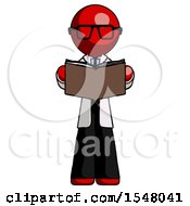 Poster, Art Print Of Red Doctor Scientist Man Reading Book While Standing Up Facing Viewer