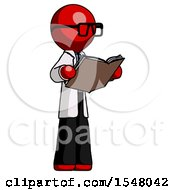 Poster, Art Print Of Red Doctor Scientist Man Reading Book While Standing Up Facing Away