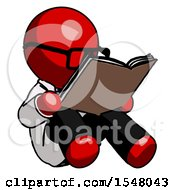 Poster, Art Print Of Red Doctor Scientist Man Reading Book While Sitting Down