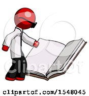 Poster, Art Print Of Red Doctor Scientist Man Reading Big Book While Standing Beside It