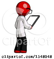 Red Doctor Scientist Man Looking At Tablet Device Computer Facing Away