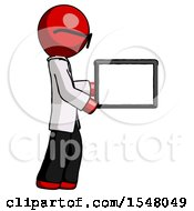 Red Doctor Scientist Man Show Tablet Device Computer To Viewer Blank Area