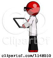 Red Doctor Scientist Man Looking At Tablet Device Computer With Back To Viewer