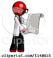 Red Doctor Scientist Man Holding Blueprints Or Scroll