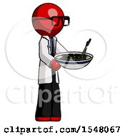 Red Doctor Scientist Man Holding Noodles Offering To Viewer