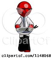 Red Doctor Scientist Man Serving Or Presenting Noodles