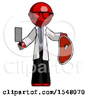 Red Doctor Scientist Man Holding Large Steak With Butcher Knife
