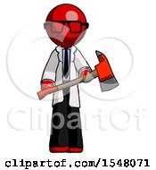 Red Doctor Scientist Man Holding Red Fire Fighters Ax