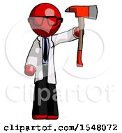 Red Doctor Scientist Man Holding Up Red Firefighters Ax