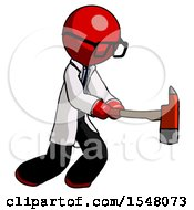 Red Doctor Scientist Man With Ax Hitting Striking Or Chopping