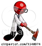 Red Doctor Scientist Man Striking With A Red Firefighters Ax