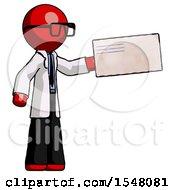 Red Doctor Scientist Man Holding Large Envelope