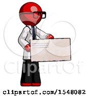 Red Doctor Scientist Man Presenting Large Envelope