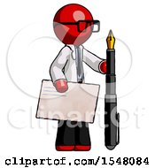 Red Doctor Scientist Man Holding Large Envelope And Calligraphy Pen