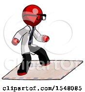 Red Doctor Scientist Man On Postage Envelope Surfing