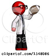 Red Doctor Scientist Man Holding Football Up