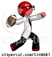 Red Doctor Scientist Man Throwing Football