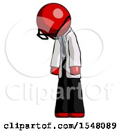 Red Doctor Scientist Man Depressed With Head Down Turned Left