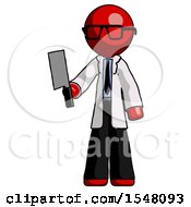 Red Doctor Scientist Man Holding Meat Cleaver