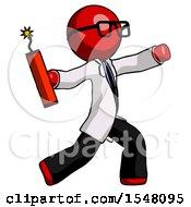 Red Doctor Scientist Man Throwing Dynamite