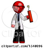 Red Doctor Scientist Man Holding Dynamite With Fuse Lit