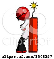 Red Doctor Scientist Man Leaning Against Dynimate Large Stick Ready To Blow
